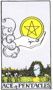 Ace of Pentacles from the Rider Waite Deck