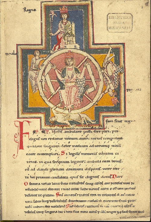 Fortuna and the Wheel of Fortune depicting the four stages of life (from the Carmina Burana). Image from Wikipedia.