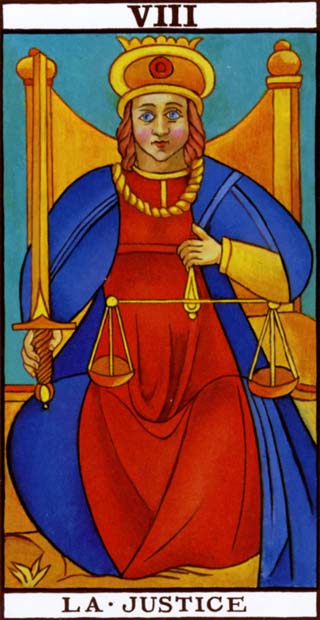 Justice, from the Marseilles tarot deck