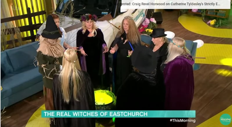 The Witch coven during their ritual with hosts Philip and Holly